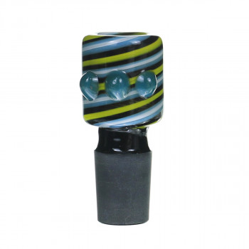 Glass Bowl 18MM Male Blue salient point on Yellow line Bong Bowl